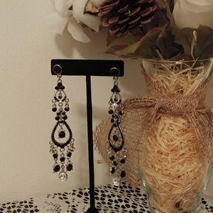 Long Black Sparkle Evening Statement Earrings